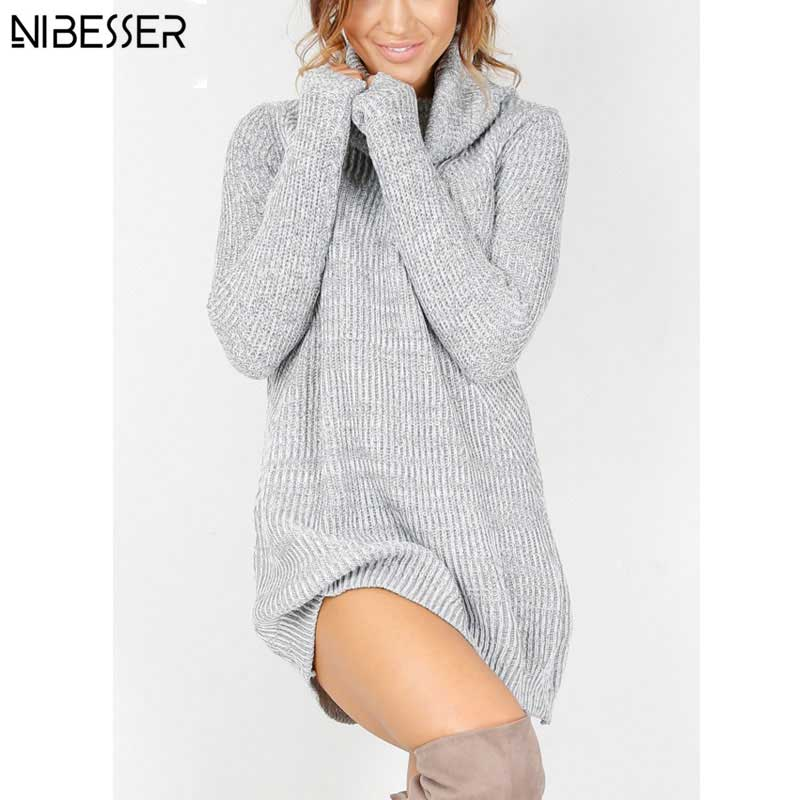 a76ecb59546 Mini Sweater Dress - Pullover Knitted Sweater Dress with Turtleneck ...