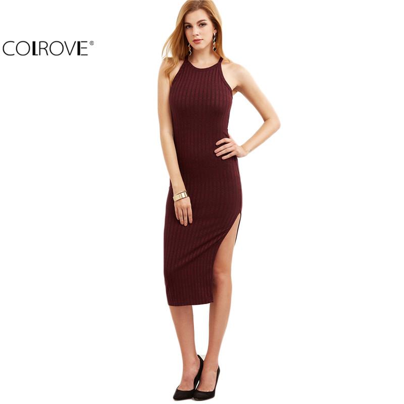 Bodycon Midi Cami Dress Side Slit Ribbed Midi Dress