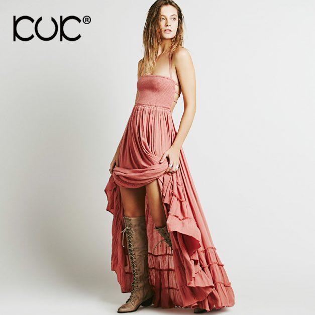 Boho Style Dress - Hippie Backless Strapless Maxi Dress