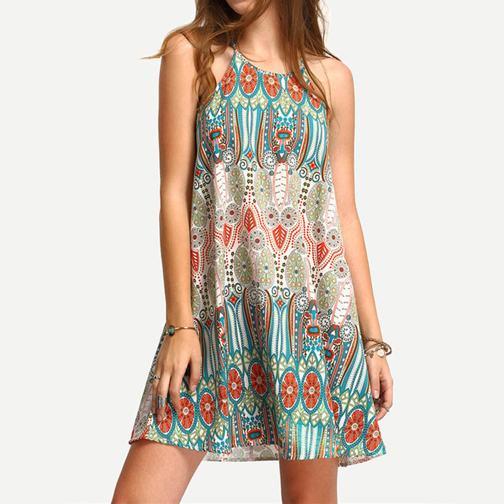 Casual Boho Mini Dress Sleeveless Short Chiffon Bohemian
